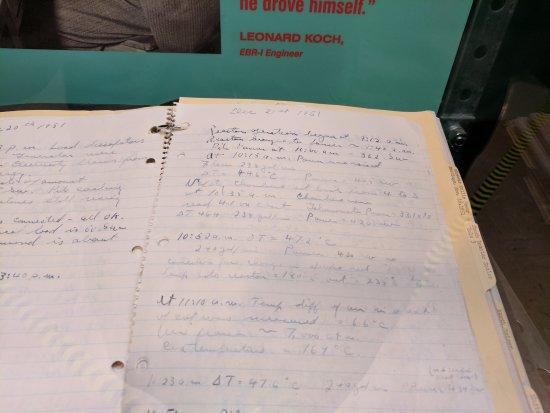 Arco, Idaho: Log kept in lab directors own hand writing.