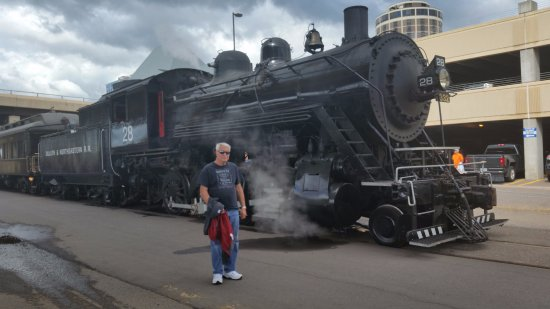 North Shore Scenic Railroad : Donnie waiting for the steam locomotive to head out of town.