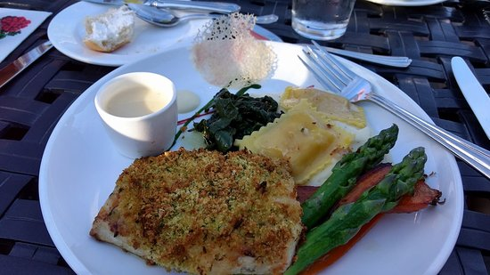 The Jockey Club: Encrusted whitefish with Lobster ravioli and grilled asparagus and carrots.