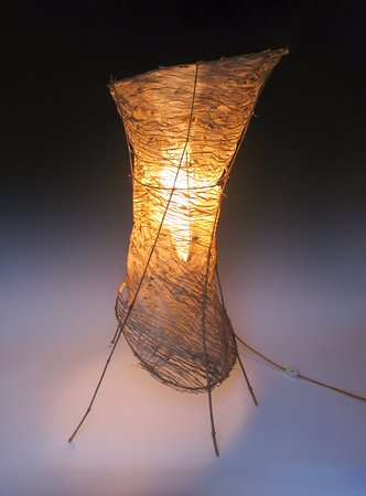 "Handwerklab Art Gallery: Kozo/Bamboo - Corset Table Lamp (32""H x 20""W)"