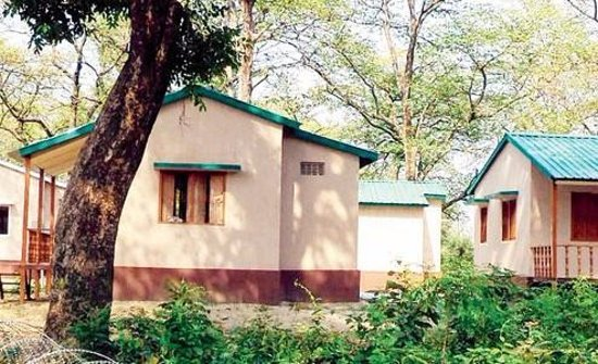 Valmiki National Park, Indie: The huts made of Bamboo for Travellers Night Stay