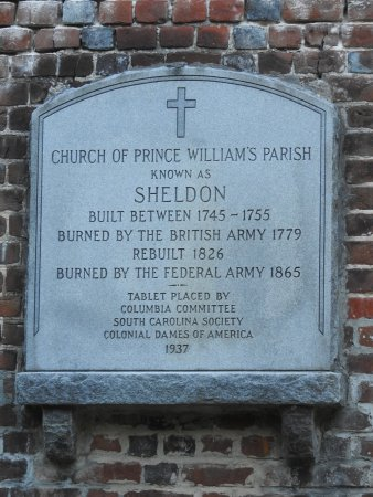 Old Sheldon Church Ruins: Another plaque on the ruins