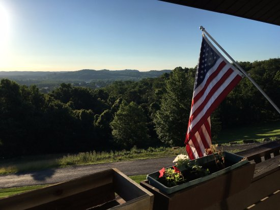 Dresden, OH: American Spirit on display off of balcony