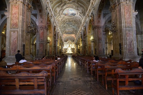 Inside the Cathedral Santiago at Plaza Armas