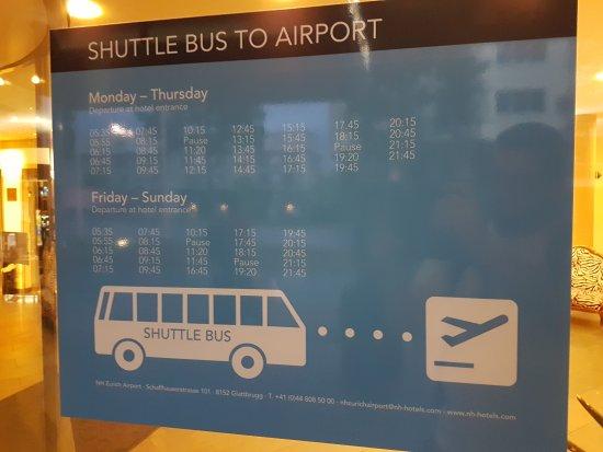 Opfikon, Switzerland: Shuttle schedule