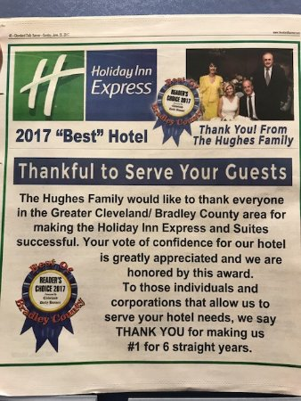 """Cleveland, TN: BEST HOTEL in the market of 23 hotels - 5 years in a row! As they say, """"Locals know BEST!"""" Thank"""