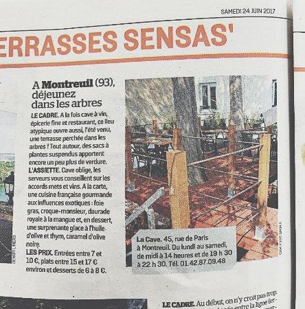 มงเตรออี, ฝรั่งเศส: Revue de presse, La terrasse dans les arbres élue une des meilleures d'île de France