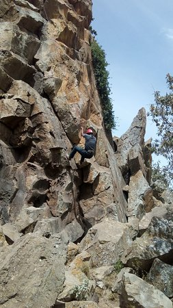 Hell's Gate National Park: Climbing down the rocky tower using a single rope is such a superb experience