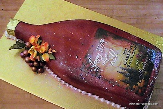 Merrys Custom Cakes Bakery Design Studio Bottle Of Wine Birthday Cake
