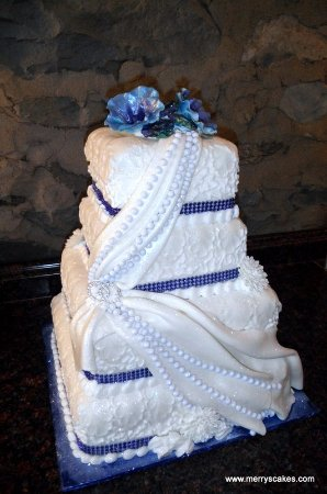 Fondant Wedding Cake In Royal Blue Picture Of Merry S Custom