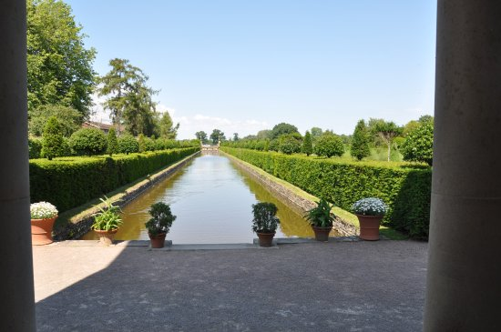 Westbury on Severn, UK: View down one of Westbury Court Garden's canals from its pavilion.