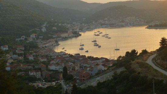 Island of Vis, Croacia: view of Vis on drive to dinner