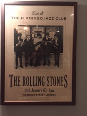 O'Neill's Wardour Street : Poster from 1963 Rolling Stones gig at Flamingo Club, now O'Neill's