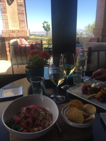 Paso Robles, CA: ceviche and an heirloom tomato and burrata salad. yummy.