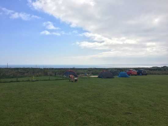 Breage, UK: View of our tents at the Dropped Anchor Campsite