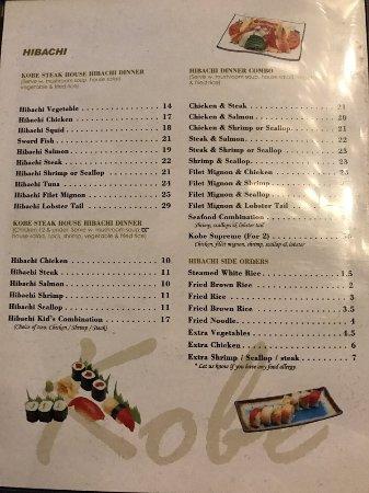 e607b0dd4f9b Menu - Picture of Kobe Teppanyaki and Sushi