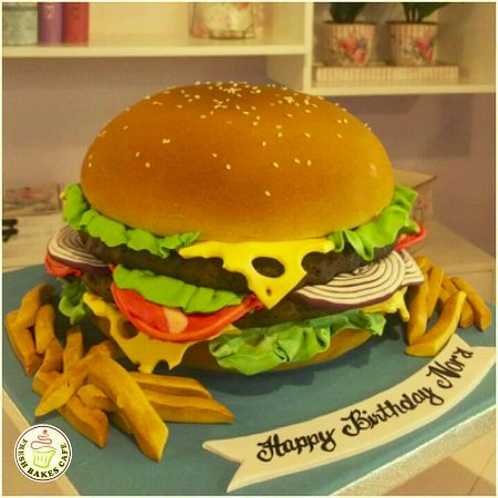 Superb Burger Themed Cake Picture Of Fresh Bakes Cafe Abu Dhabi Funny Birthday Cards Online Inifofree Goldxyz