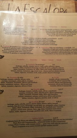 La Escalopa : Las entradas...die Vorspeisen...the starters...