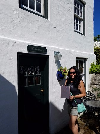 St. George, Bermuda: Outside the perfume making room with my new purchase!