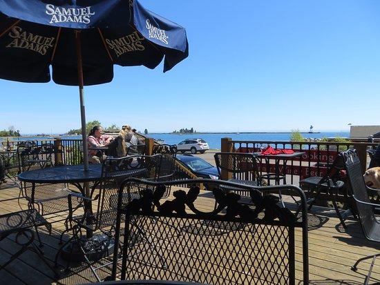 Grand Marais, MN: Deck overlooking harbor