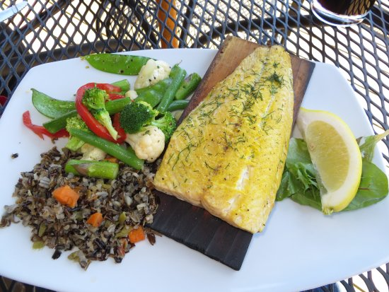 Grand Marais, MN: Planked trout, rice pilaf and mixed vegetables