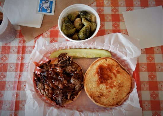 Brooksville, FL: Pulled Pork Sandwich and Garlic Brussel Sprouts