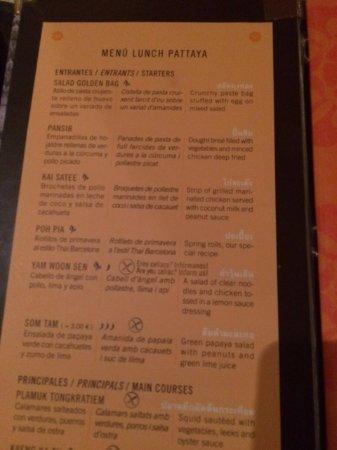 Thai Barcelona Royal Cuisine Restaurant: Menu: entrantes