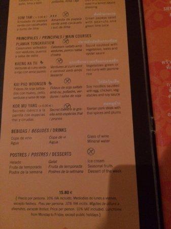 Thai Barcelona Royal Cuisine Restaurant: Menu: segundos