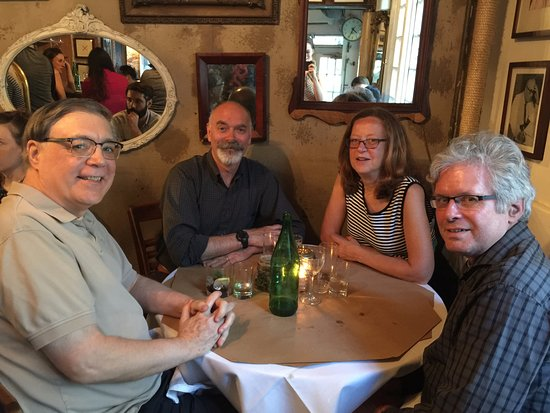 Joseph Leonard : author and friends at the largest table in the restaurant