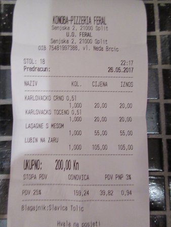 Receipt for two - 2 beers and 2 entrees