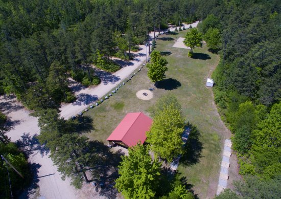 Brownfield, ME: Our safari field, covered pavilion, horseshoe pits & huge firepit.