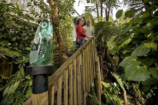 Okarito, New Zealand: Walkway through Native Forest to gallery