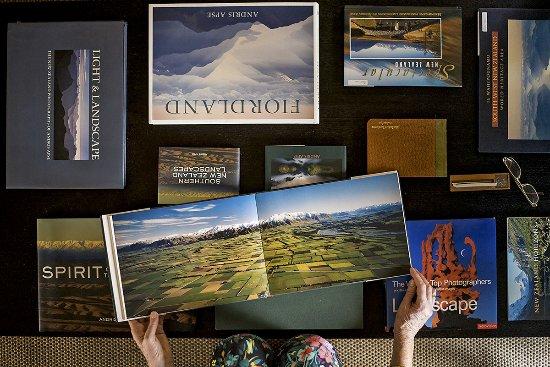 Okarito, Новая Зеландия: Coffee table display of Andris Apse Books