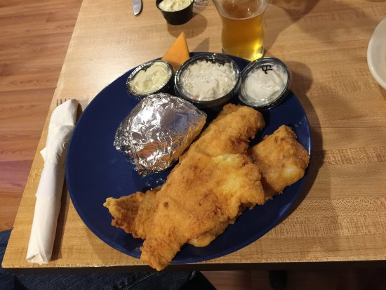 Deer Isle, ME: Haddock was light & flakey, batter was light & crisp, and baked potato was perfectly done. The s