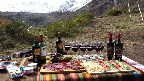 San Jose de Maipo, Chile: Mesa de queijos e vinhos no final do passeio....