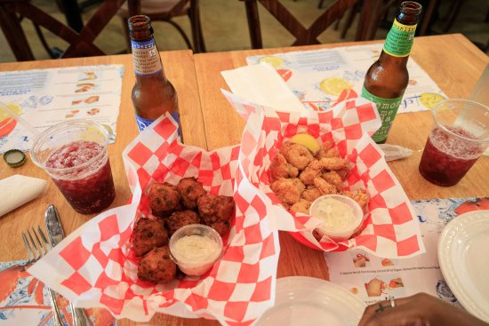 Edgewater, NJ: Lobster Fritters and Fried Shrimp