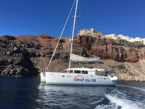The boat we hired picture of sunset oia sailing cruises