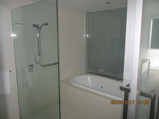 Mantra Circle on Cavill: Master bathroom, can pull up blind and see Ocean through master bedroom