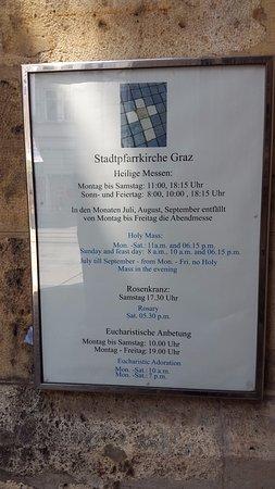 Stadtpfarrkirche: Schedule