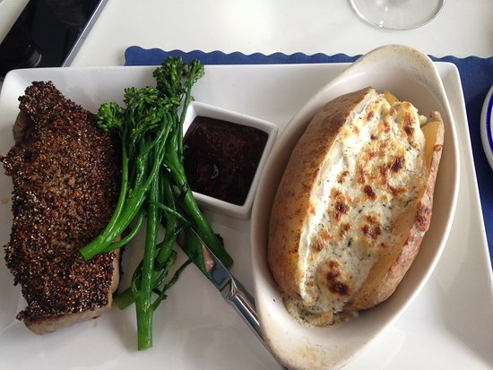 Solomons, MD: NY Strip and Boursin potato