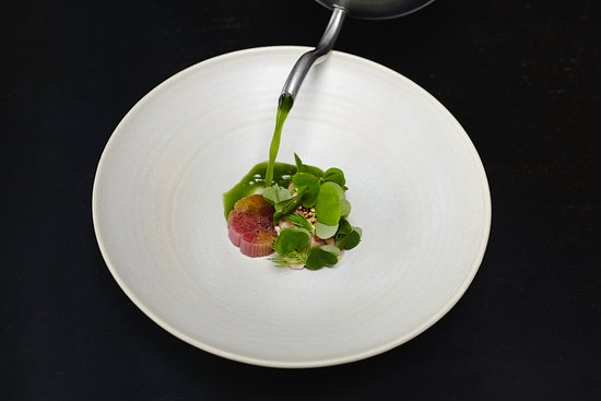 Bak restaurant: dessert in May sorbet and terrine of rhubarb/ roasted buckwheat/ bouillon of sorrel/ oil of tarr