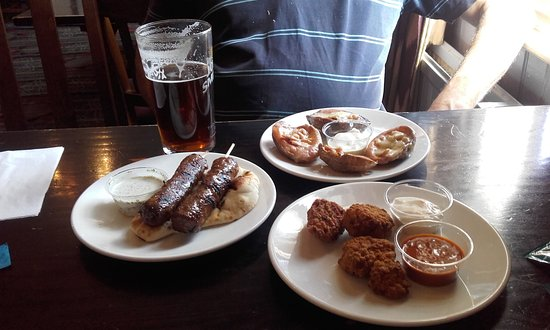 Bexley, UK: Cheese & Bacon Potato Skins,Southern Fried Chicken,Grilled Lamb Kebabs