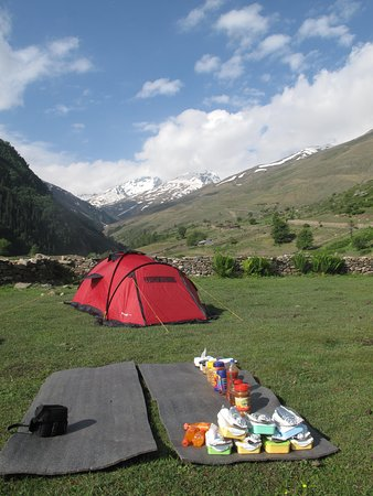 Overnight camping in Sangla meadows - about three hours walk from the camp.