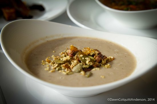Watertown, MA: Mushroom bisque with granola