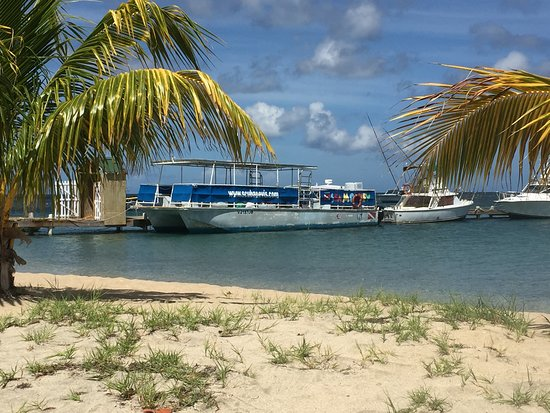St. Kitts og Nevis: The dive boat docked at Oualie Beach.