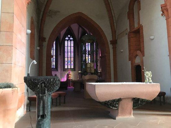 Ettlingen, Tyskland: Outside and inside view of St. Martin.