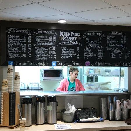 Clanton, AL: Sandwich menu board with a view into the kitchen