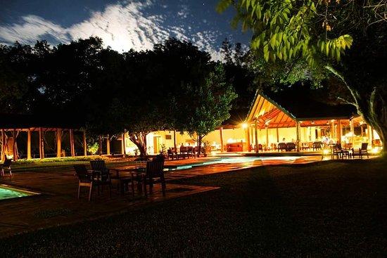 Hotel Sigiriya: Pool & lobby area at night