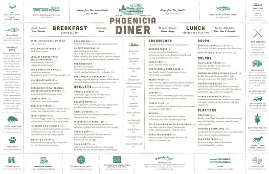 Phoenicia, Estado de Nueva York: Menu - Winter 2017