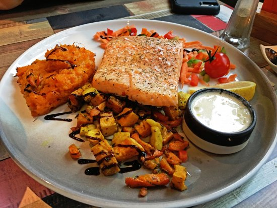 Hvolsvollur, Island: Oven-baked Salmon. Healthy and tasty choice.